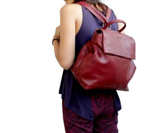 Leather backpack in bordeaux , convertible backpack women