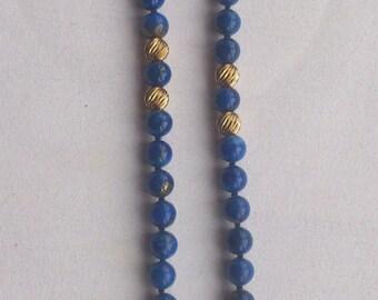 Vintage lapis lazuli and 14k gold bead necklace
