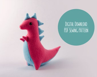 Dinosaur Plushie Pattern, PDF Sewing Pattern, T-Rex Sewing Pattern
