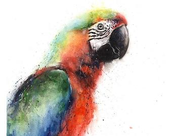 PARROT PAINTING - macaw art, parrot artwork, watercolor bird decor, parrot art, parrot decor, parrot wall art, parrot lover gift, bird gift