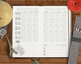 Blank Month Calendar - Skinny Jane Printable Insert for Midori Traveler's Notebook and Personal Filofax - For Minimalists & Doodlers