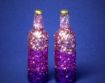 Decorative Miniature Bottle Shades of Purple for your Dollhouse