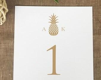 Pineapple Monogram Table Numbers, Pineapple Table Numbers, Hawaiian Wedding Table Numbers, Gold Pineapple Table Numbers