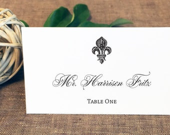 Printed Fleur de Lis Wedding Place Cards, New Orleans Place Cards, French Place Cards, Paris Place Cards
