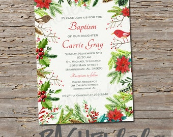 Christmas, Baptism invitation, Printable, DIY, christening