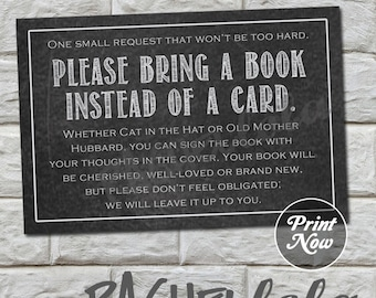 Chalkboard, Bring a Book instead of a Card Insert