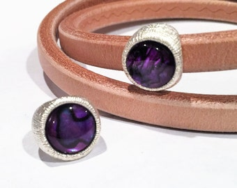 SALE: Licorice leather slider, Purple Paua Shell and Bright Silver plated zamak, licorice finding, jewelry supplies