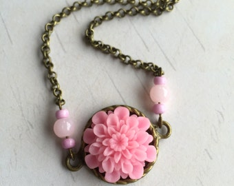 Pink Chrysanthemum Cabochon Flower Necklace