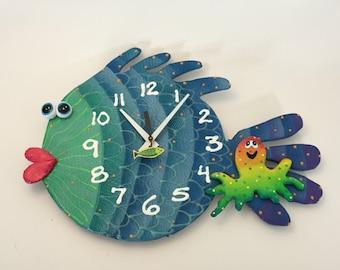 Clock, Blowfish Clock, Unique wall Clock,Under the Sea, Ocean, Under water fish room decor, Ocean decor
