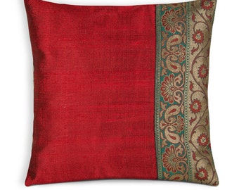 Christmas Decoration - House Warming Gift - Silk Pillow Cover - Teal Red Gold Silk Pillow - Wedding and Home Decor