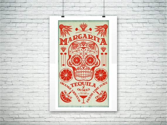 Day of the Dead Margarita Cocktail Poster Bar and Kitchen Art