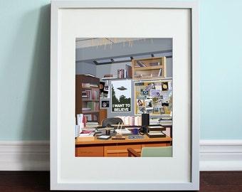 Fox Mulder's Office - The X-Files, The X-Files Art Print, TV Sitcom