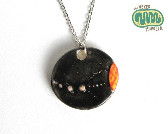 Solar system necklace, ceramic astronomy jewellery, sun and planets, gift for geeks