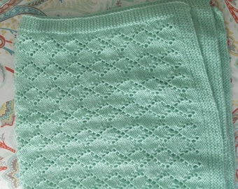 Hand knit mint green baby blanket