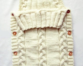 Baby Sleep Sack, Baby Blanket, Knit Baby Sleeping Bag. Sack or Cocoon.
