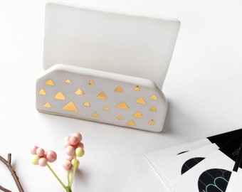 MADE TO ORDER - White & Gold Confetti Business Card Holder - Modern Office, Modern Pottery, white and Gold Desk and Office, Mother's Day, Co