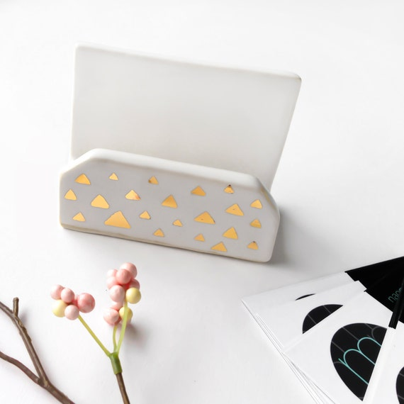 MADE TO ORDER White & Gold Confetti Business Card Holder