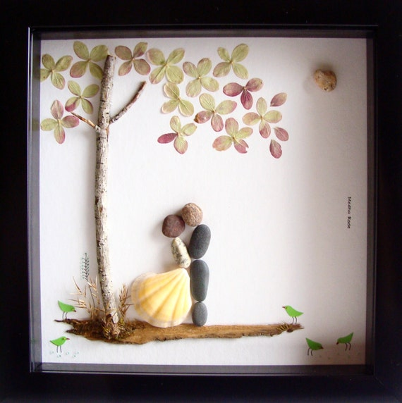 Unique Wedding Presents : Unique Wedding Gift For Couple- Wedding Pebble Art- Unique Engagement ...