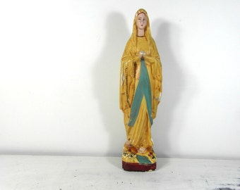 """Large French vintage Virgin Mary statue, plasterware, Mary statue, Madonna statue, 13"""" or 33 cm, chalkware figurine."""