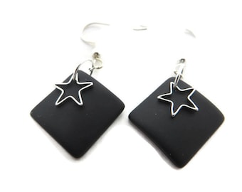 Black Sea Glass Earrings, Black Beach Glass Earring, Black Dangle, Recycled Glass, Silver Star Earrings, Black Drop, Black Earring
