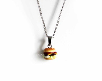 Burger Necklace, Hamburger Jewelry, Cheeseburger, Fast Food, Junk Food Jewelry, Unique Necklaces,Silver Charm Necklaces,Foodie Gifts,Burgers