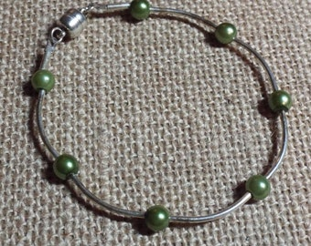 Silver Bracelet Green Pearl Count Your Blessings #387
