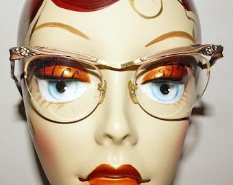 1950s BL Cat Eye Aluminum Glasses Vintage Retro