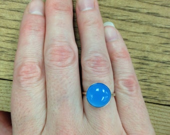 12mm Blue Chalcedony Sterling Silver Ring