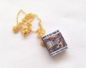 Handmade Where the Wild Things Are Miniature Book Charm Necklace // Maurice Sendak Book // Classic Books // Book Worm Gifts