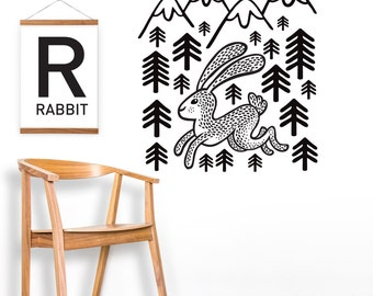 Rabbit Wall Decal Wall Sticker Rabbit And Mountains Black Forest Home