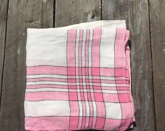 Vintage 1950s Pink Square Linen Tablecloth