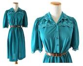 Turquoise Dress Blue Eyelet Dress Teal Dress Yoke Dress 60s 70s Dress Dolly Dress Eyelet Lace Trim Size Medium