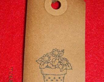 Set 0f 50 Primitive Flower Pot Handmade Hang Tags