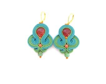 Teal Dangle Earrings, Handmade Soutache Earrings, Unique Earrings with Agate, Teal Earrings, Dangle Earrings, Soutache Earrings