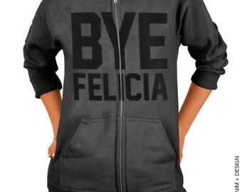 Bye Felicia Zip Up Hoodie - Charcoal Gray with Black Zip Up Hoodie - Hooded Sweatshirt