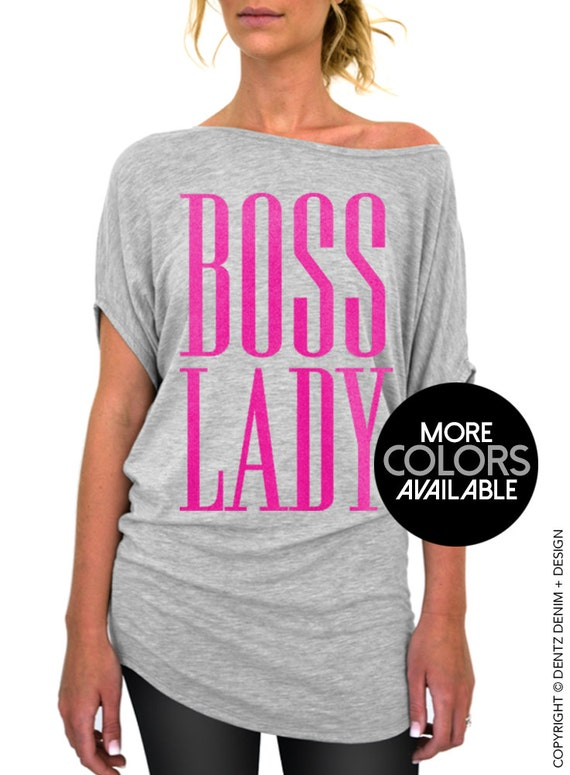 boss lady gray slouchy tee small plus sizes black pink. Black Bedroom Furniture Sets. Home Design Ideas