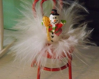 Whimsical Winter Scale Dollhouse Decoration-Little Red Chair Filled with Feathers and a Happy Snowman to Greet You with Smiles!