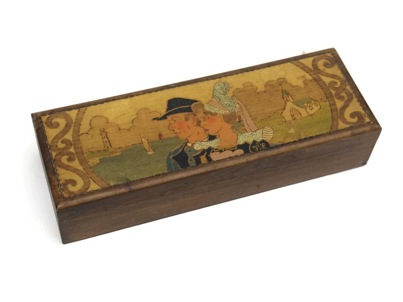 French breton souvenir box wooden glove etched wood