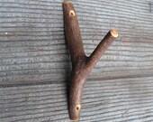 "Wooden Wall Hook, 6"" Wood Tree Branch Hooks, Wooden hooks, Rustic Wall Peg, Natural Wood Towel holder, Home Organization, Fixtures & Hooks"