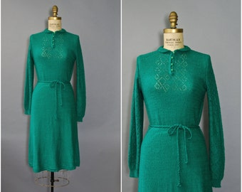 1970's Sweater Dress//Green Knit Dress//70's Long Sleeve Dress