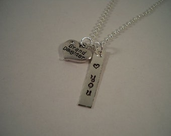 Granddaughter Stamped Silver and Pewter Charm Necklace
