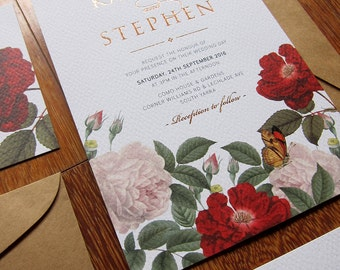 Vintage FLoral with Rose Gold Foil Wedding Invitation - DEPOSIT