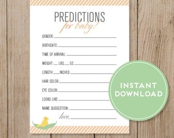 Printable Baby Prediction Card. Baby Shower game. Gender Prediction game. Gender Neutral. Instant Download DIY Baby Shower Peach Baby Shower