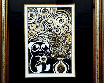 Panda Prophecy, Original Linocut Hand-Pulled Print w/ Hand-Painted Gold Embellishment