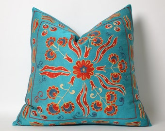 Turquoise pillow, pillow cover turquoise pillows suzani pillow uzbek pillow uzbek embroidery suzani pillow cover silk suzani samarkand