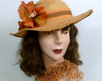 Woven Linen Straw Picture Sun Hat -Hand Dyed Hand Made Flowers -Salmon & Brown -Hand Embroidered -Grosgrain Ribbon -Luncheon -Wedding-Church
