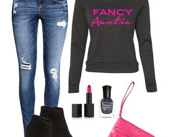 Fancy Auntie Raglan Sweatshirt Hot Pink , Best Aunt Ever, Best Auntie Gifts,  Special Aunt Gifts, Personalized Auntie Present, My Aunt Rocks