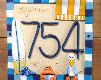 House number sign, address number plaque, Ceramic, Beach Hut or House Design