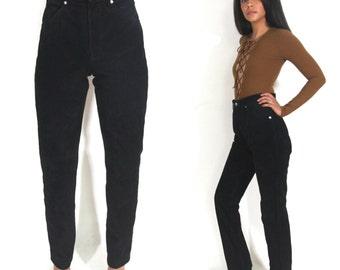 Vintage 80s Wrangler High Waist Skinny Tapered Black Suede Leather Pants Jeans