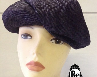 Vintage Women's Hats 1950's Navy Blue Textured Turban Cap Tam Hat No. 63
